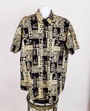 Orvis Mens Black Yellow Cocktail Print Short Sleeve Button Front Shirt Size XL