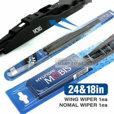 "OEM Genuine Parts Wing Windshield Wiper Blades 24"" + 18"" J-Hook Black 2Pcs Set"