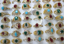 Job Mixed Lot 28pcs Multicolor Resin Rhinestone Gold Plated Wonderful Women Ring