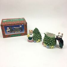 Caffco Well Manored Cats Seasons Best Cream and Sugar Christmas Holiday Ceramic
