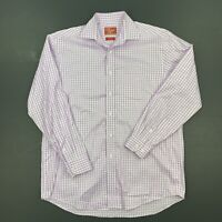 RM Williams Mens Purple & White Check Long Sleeve Button Up Shirt Size Small