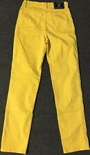 Vtg 90s Versace Jeans Couture Yellow 28/32 Skinny Slim Pants Italy Polo Sport