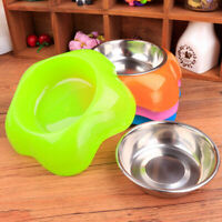 2017 Double Stainless Steel Dog Cat Puppy Pet Bowl Non Food Water Slip K9M7