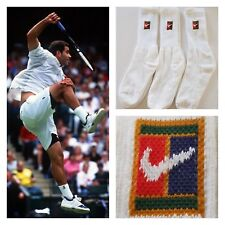 VTG 90's NIKE SUPREME COURT TENNIS CREW SOCKS SAMPRAS AGASSI FEDERER NEW 1 PAIR