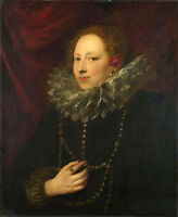 Oil painting Portrait of Woman by Anthony van dyck handpainted in oil on canvas