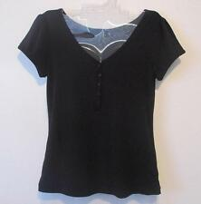 Womens S Lapis Black Stretch Knit Short Sleeve EUC Buttons Top Blouse Shirt NICE