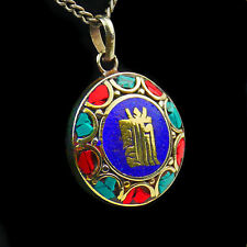 Colgante medallón bronce azul turquesa Talismán ORO Tibetano Budismo T45