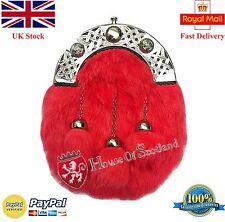Hs Écossais Kilt Sporran Costume Complet Rouge Lapin Fourrure Celtique Cantel /
