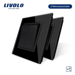2Pcs/Set Livolo  Kippschalter Glas Lichtschalter Schalter  in Schwarz ,CE