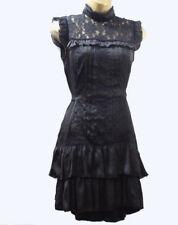 Lipsy Gothic Victorian Lace Dress 10 High Neck Black Silk Ruffle Goth Party Club