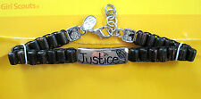 Silver BRACELET, I.D-Style JUSTICE Girl Scout NEW on Card GIFT Multi=1 Ship Chrg