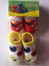 Sesame Street Crib Shoes/Booties/Two Pair 0-12 Mos  Elmo /Cookie NIB