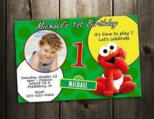 ELMO SESAME STREET PARTY INVITATION BIRTHDAY CARD BABY CUSTOM INVITE 1ST - F2