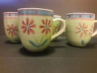 Set ~ 4 Mulberry Home Coffee Tea Cocoa Mugs Cups Green Pink Daisy Flowers 12 oz