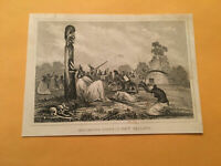 KE) Antique Original 1842 Tribal Mourning Scene in New Zealand Engraving