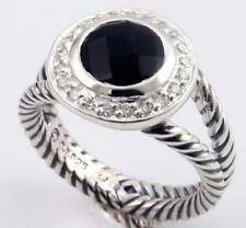 David Yurman Sterling Silver Onyx & Diamond Albion Ring size 6.5