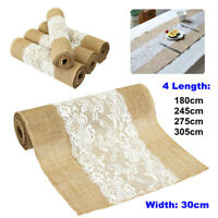 Vintage Hessian Natural Burlap Jute Lace Table Runner Fabric Wedding Party