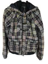 Billabong Womens Hoodie Jacket SZ 12 Tartan Check Multicolour Duffles Lined