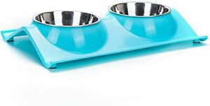 Vealind Double Dog / Cat Bowl Non-spill & Non-skid Raised Bowl Feeder Blue