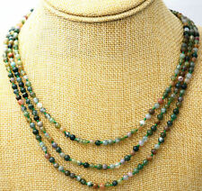 """Beautiful 3 rows 4 mm Natural multicolor Indian agate beads gem necklace 17-19"""""""
