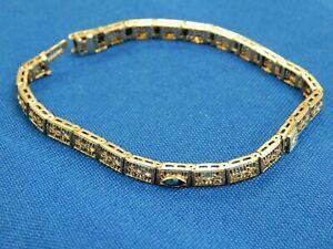"Vintage DECO 10k Solid White Gold Blue Sapphire Filigree Bracelet 7"" (413)"