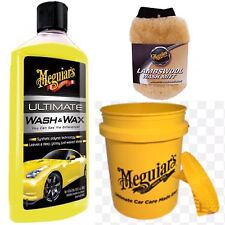 Meguiars Grit Guard & Bucket, Ultimate Wash & Wax 473ml & Lambswool Wash Mitt