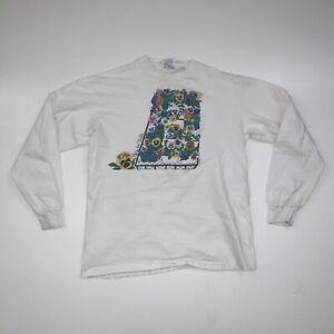 Vintage 90s Flower Art T-Shirt Size S/M White Long Sleeve