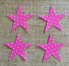 Pack of 4 Small Stars - Fabric Iron on - Pink Polka Dot -Personalisation
