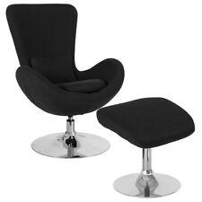 Contemporary Retro Style Black Fabric Egg Swivel Reception Chair with Ottoman