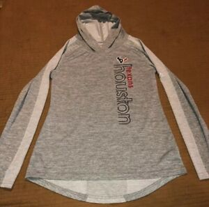 Womens Majestic Gray Houston Texans Full Zip Hoodie Shirt  Cool Base Size Medium