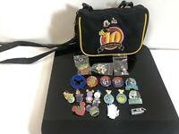 Disney 10 Years Of Pin Trading Satchel With 19 Pins