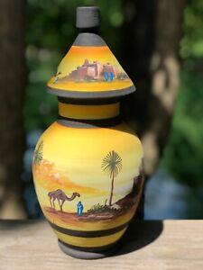 handpainted vase - saharan desert scene - middle eastern