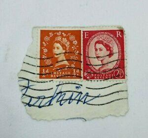 Vintage Queen Elizabeth II Stamps 1955 1d 2 1/2