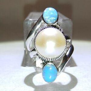 "SIGNED-""Sharon Evans CFJ"" sterling silver 925: & opal & Pearl RING Size 7 (7.4G)"