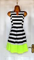~CHANELLE~ White/Black Stripe Lime Midi Skater Evening Party Dress 8 10 12 14