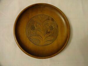 Hand Carved Wooden Shallow Bowl, Floral Design Diameter 21.5 cm