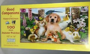 GOOD COMPANIONS DOGS CATS  BY HOWARD ROBINSON 100 PC PUZZLE 10X16  MADE IN USA