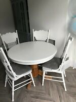 Round Dining Table and 4 Vintage Edwardian Nursing Chairs Set