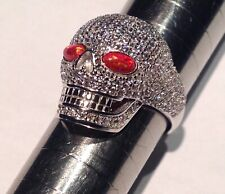 Day of the Dead Skulls Head Eyes Ring Sterling Silver Biker Rock Gothic P½