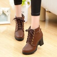 Women  Block High Heels Martin Lace Up Round Toe Platform Ankle Boots Zip Shoes