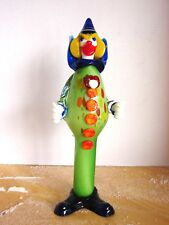 "Large Murano Glass Clown Hand Blown Italian Italy 14"" Tall"