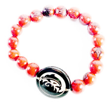 Orange- Açaí Porpoise Beads Tagua Medallion Bracelet - Organic