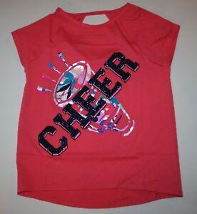 New Gymboree Girls Gymgo Pink Cheer Short Sleeve Glitter Tee Top 10-12 Year NWT