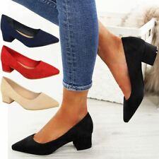 Womens Ladies Black Low Block Heel Court Shoes Smart Office Work Wedding Comfort