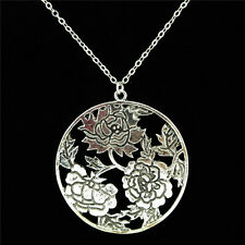 10-5 Silver Alloy 49mm Big Rose Flower Plant Pendant Chain Chunky Necklace 18""
