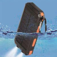 300000mAh Waterproof Charger Solar Outdoors Dual USB Solar Battery Power Bank