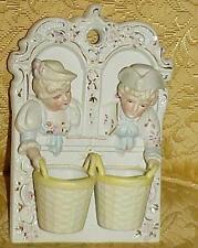 Antique Match Holder Wall Pocket Figures Boy Girl Bisque Victorian Hand Paint