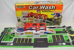 Vintage Matchbox 1993 CAR WASH Playset w/ box + playmat -no cars - seems to work