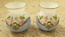 Vintage Pair of Hand Painted Glass Vases For Nina Campbell