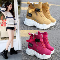 New Women Platform Wedge Leather Sneaker High Heel Sport Ankle Boots Creepers F7